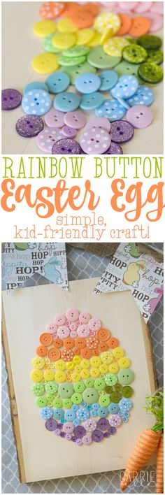 Easy Easter Craft Button Easter Egg - Cute Easter Decor and a great craft idea f. - Easy Easter Craft Button Easter Egg - Cute Easter Decor and a great craft idea f. Easter Projects, Easter Art, Hoppy Easter, Easter Crafts For Kids, Easter Bunny, Easter Eggs, Easter Decor, Egg Crafts, Easter Ideas