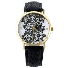 Sanwood Damen Lace Gedruckt Uhr Armbanduhr Watch (Schwarz) - http://uhr.haus/sanwood/schwarz-sanwood-damen-lace-gedruckt-uhr-watch