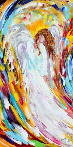 Original oil Angel Spirit palette knife painting by Karensfineart