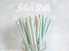 Blue and Silver Mixed Paper Straws (Silver Bells - Pack of 25 Straws) **Weddings, Parties, Showers, Gifts** *Paper Straws* on Etsy, $4.00
