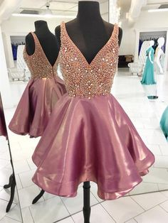 Pink Beaded Homecoming Dress,Luxury Mini Short Prom Dress,V-Neck Homecoming Dress on Luulla Cute Homecoming Dresses, A Line Prom Dresses, Party Dresses, Evening Dresses, Dress Prom, Prom Gowns, Maxi Dresses, Graduation Dresses, Wedding Dresses