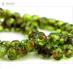 Glass lampwork beads Olive Raku organic strand 50 by radiantmind, $90.00