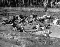 Half-buried in an Ilu River sandbar, these are the bodies of the Japanese soldiers who attempted to overrun the US Marine positions on Guadalcanals coast line.