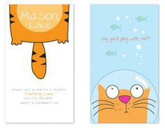 Cat Fish Calling Card by Sheila Sunaryo for Minted. Artist Business Cards, Business Card Design, Creative Business, Name Card Design, Bussiness Card, Envelope Design, Calling Cards, Name Cards, Branding Design