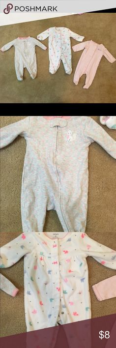 Bundle of 3 baby girl footie pajamas Bundle of three size 3 month carters pajamas. In great condition. Two are cotton the other is terry cloth. Carter's Pajamas