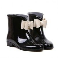 Sweet Women's Rain Boots With Bowknot and Color Matching Design