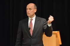 James Baker, who currently serves as chief judge of the United States Court of Appeals for the Armed Forces, addressed approximately 50 OSU students and faculty members in his national security simulation keynote speech, held in the U.S. Bank Conference Theater this afternoon. Credit: Robert Scarpinito / For The Lantern