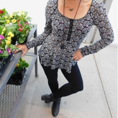 Free People Floral Lace Peplum Top First pic is just to show how this top fits, the other pix are mine! This top is a beautiful floral lace material that is kinda see through, you could wear it with or without a cami. Free People Tops Blouses