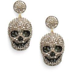 Bavna Pave Diamond Skull Drop Earrings ($3,120) found on Polyvore