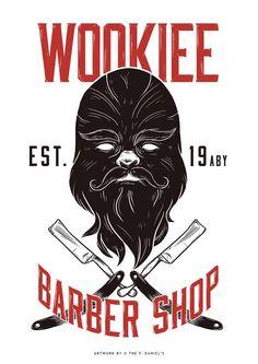 Wookie Barber Shop   By: The F. Daniel's (via Facebook)   #starwars #starwarsfanart #starwarshumor #chewbacca