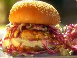 Picture of Salmon Burgers with Soy Mayo and Simple Sesame Slaw Recipe