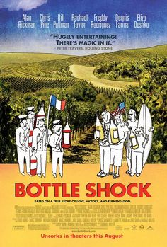 "Bottle Shock- 2008: Based on the 1976 wine competition termed the ""Judgment of Paris"", when California wine defeated French wine in a blind taste test."