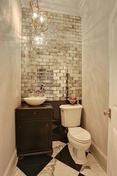 33 Insanely Clever Upgrades To Make To Your Home mirror tiles / spiegelkacheln spiegelfliesen Bathroom Inspiration, Bathroom Ideas, Bathroom Hacks, Mirror Bathroom, Downstairs Bathroom, Bathroom Designs, Bathroom Chandelier, Bathroom Renovations, Shower Ideas
