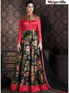 New Black & Red Colour Silk Designer Anarkali Suit-4706-D