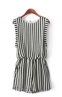 Fashion Vertical Stripes Printing Chiffon Jumpsuit