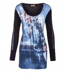 Aprico Shirt Damen Blau Langarm Pailletten Viskose Druck