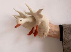 Felted puppet: duck. Soooooo cute and beautiful!