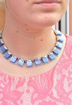 Vintage Silver and Pastel Blue Collar Necklace - £24.00