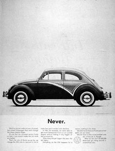 1962 Volkswagen Beetle original vintage advertisement. Explains why you will never see an over-chromed two-tone Beetle. Photographed in black & white.