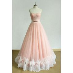 Pink A Line Brush Train Sweetheart Strapless Sleeveless Layers Prom... (210 NZD) ❤ liked on Polyvore featuring dresses, a line prom dresses, pink prom dresses, sweetheart prom dresses, a-line dresses and strapless prom dresses