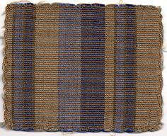 Sample for curtain fabric  Professional weaving workshop at Bauhaus Dessau 1926-27 Fantasy weave Warp: cotton(orange). Weft: rayon (light and dark blue,  light and dark grey) 19.2x15.3 cm Bauhaus-Archiv Berlin  Inv.No.466