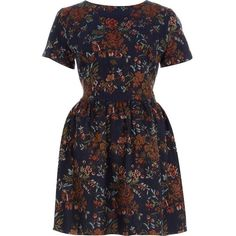 River Island Navy Floral Tapestry Skater Dress ($64) ❤ liked on Polyvore