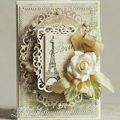 Spellbinders floral ovals shabby chic card/ For My handmade greeting cards visit me at My English Personal blog: http://stampingwithbibiana.blogspot.com/