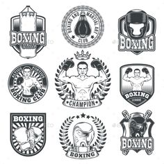 Set Boxing Badges, Stickers Isolated on White. by vectorpocket Set of vector boxing emblems, badges, stickers isolated on white. N Logo Design, Coin Design, Badge Design, Boxing Gloves Tattoo, Boxing Tattoos, Boxing Club, Boxing Gym, Muay Thai, Karate