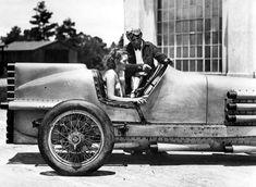 1930 Daytona Sig Haugdahl and his rocket car  showing it to Mary Pickford