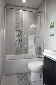 Small Hall Bathroom Remodel Ideas a gorgeous bathroom remodel with a tile shower, white trim and a