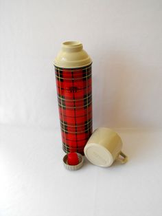 Vintage Thermos Red Plaid Metal King Seeley Tea by ShaginyAndTil $18