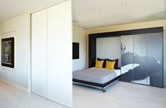 intelligente designs mit klappbett Einbauleuchte und weiße Trennwand