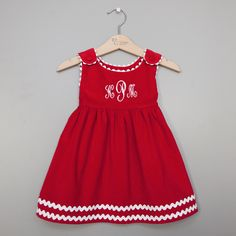 Red Monogram Girls Dress