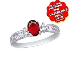 0.77 Ct Oval Cut Ruby & Diamond 10K White Gold Solitaire Engagement Ring # Free Stud Earring by JewelryHub on Opensky
