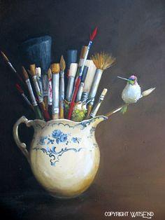 Colibri pinceaux artistes à original ooak oiseau pichet peinture nichent art nature morte