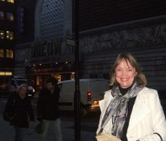 Sophie Neville outside the Odeon Cinema in Shaftesbury Avenue ~ once the ABC ~ where the Royal Gala Premiere of SWALLOWS & AMAZONS was held in 1974