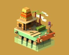 Mysteries Town by Sattrawut Sinlapaanun, via Behance Isometric Art, Isometric Design, Low Poly Games, Unity Games, Polygon Art, Low Poly Models, Low Poly 3d, Environment Concept Art, Game Assets