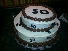 50th birthday cake.  Borders are chocolate candies