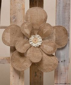 Take a look at this Burlap & Lace Sunflower on zulily today! Jute Flowers, Fabric Flowers, Burlap Lace, Burlap Wreath, Hessian, Twine Crafts, Diy Crafts, Burlap Projects, Craft Projects