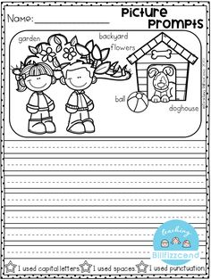 Writing prompts: Picture Prompts for first grade. This is also great for kinderg… Writing prompts: Picture Prompts for first grade. This is also great for kindergarten and second grade to build confidence in writing. First Grade Writing Prompts, Opinion Writing Prompts, Kindergarten Writing Prompts, Work On Writing, Picture Writing Prompts, Narrative Writing, Writing Worksheets, Writing Lessons, Writing Workshop