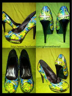 TMNT Teenage mutant ninja turtle custom shoes high heels.