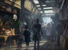 This is a market in a pseudo medieval-renaissance fantasy world which my personal project is based upon. Traders come from far and wide to this city to . The Foreign Market Fantasy Town, Fantasy Rpg, Medieval Fantasy, Fantasy World, Dark Fantasy, Fantasy Concept Art, Fantasy Places, Fantasy Setting, Illustration