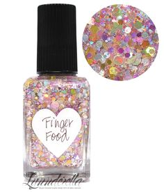 Lynnderella Limited Edition—Finger Food is a blend of assorted silver, pink, and gold holographics accented with pink jjelly glitter in a warm pink-shimmered clear base.