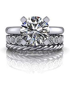 Forever Carat US Carat Round Cut Real Diamond Engagement Bridal Sets Solid White Gold Women's Engagement Rings Round Diamond Engagement Rings, Engagement Ring Sizes, Diamond Wedding Rings, Solitaire Engagement, Gold Wedding, Diamond Rings, Solitaire Diamond, Wedding Band Sets, White Gold Rings