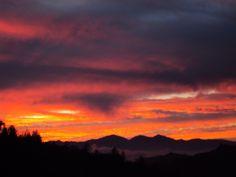 Orange, purple, and pink sunset in the San Bernardino Mountains.