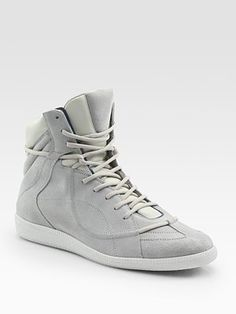 suede & leather high top sneakers ++ maison martin margiela
