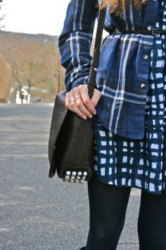 Mixed prints + plaid + studs + alexander wang + old navy + urban outfitters