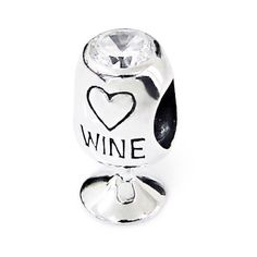 925 Sterling Silver Love Wine Glass Charm Bead with White Cz Stone Fits Pandora Troll Beads Biagi Chamilia $21.99 #topseller