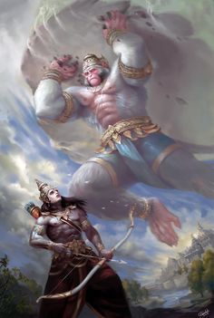 Hello people, here is my recent painting based on a part of Ramayana when Hanuman Ji flew towards the battle field of Lanka to save Lord Lakshman. Lord Bharat saw a giant monkey carrying a mountain flying in the skies of Ayodhya. Considering it a threat Hanuman Pics, Ram Hanuman, Hanuman Images, Hanuman Ji Wallpapers, Lord Vishnu Wallpapers, Lord Rama Images, Armadura Medieval, Lord Shiva Painting, Shiva Wallpaper
