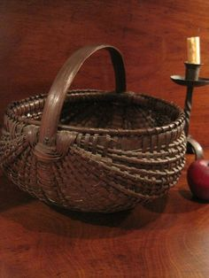 12in tall (handle) Antique 1800s New England Black Ash Woven Splint EGG Gathering Basket AAFA #Naïve Primitive